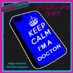 FITS IPHONE 4 / 4S PHONE KEEP CALM IM A  DOCTOR PLASTIC COVER COOL GIFT BLUE